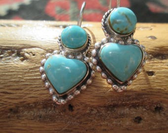 Turquoise and Sterling Silver Heart Earrings