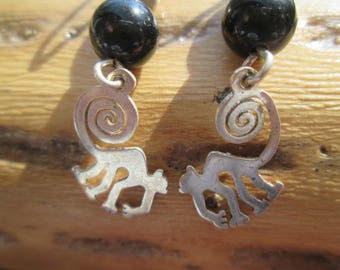 Black Onyx and Sterling Silver Balls and Monkey Dangle Earrings