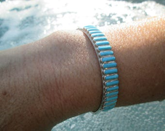 Zuni Signed Turquoise and Sterling Silver Needlepoint Cuff Bracelet