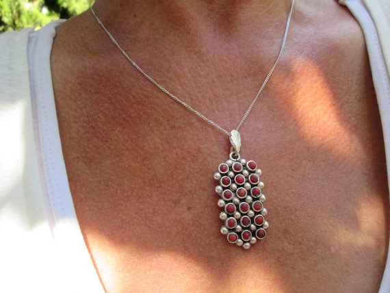 Vintage Petit Point Coral and Sterling Pendant Necklace
