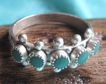 Snake Eyes Green Turquoise and Sterling Ring Size 5