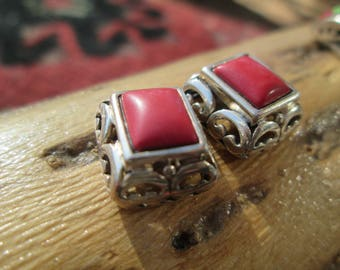 Ornate Coral and Sterling Silver Post Earrings