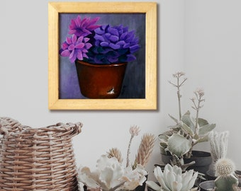 Container Flowers Rustic Painting Canvas Wall Art