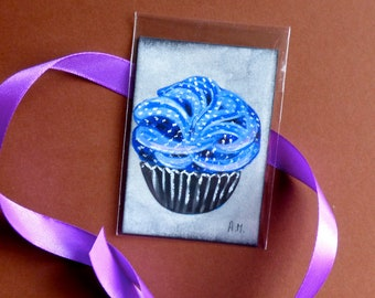 ACEO, Oil painting, Cupcake card, Mini painting, Original art, Cupcakes painting, Original painting, Art card, Original ACEO, Miniature gift