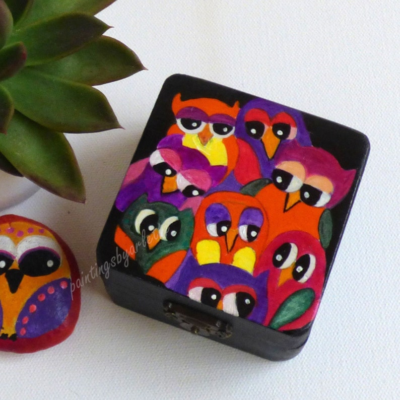 Wooden Box Hand Painting Colorful Owl Art Keepsake Box Ideas Small Memory Box Gift For Nanny Wooden Box Painting