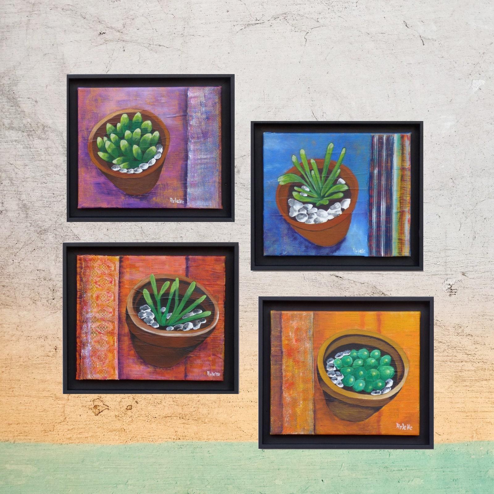 Conjunto de 4 cuadros decorativos suculentas y macetas etsy for Conjunto de espejos decorativos