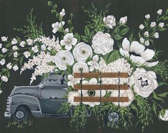 White Flower Farm Gray Truck Printed Canvas