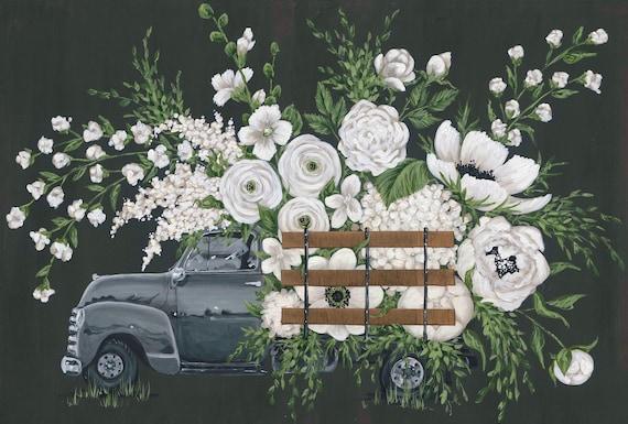 White flower farm gray truck printed canvas etsy image 0 mightylinksfo
