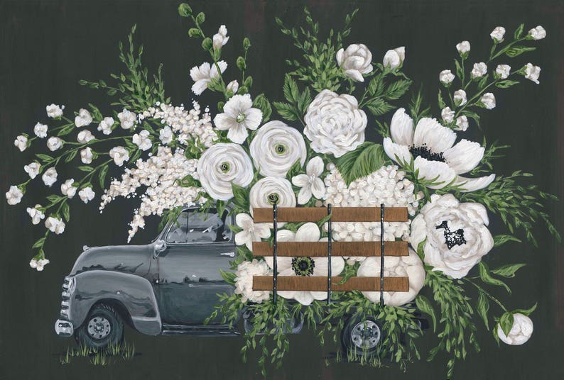 White Flower Farm Gray Truck Printed Canvas Etsy