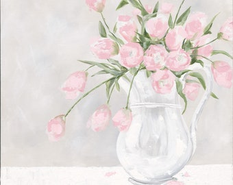 Pink Tulips in Ironstone Printed Canvas