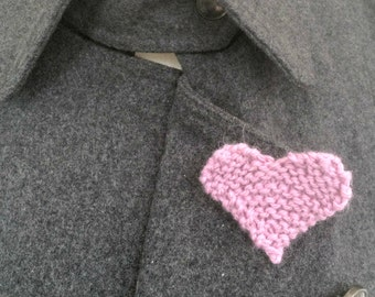 7th Wedding Anniversary Present, Pink Heart Brooch, Knitted Heart Lapel Pin Brooch, 7th Anniversary Gift For Her, Handmade Jewellery