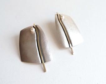 1980s Handmade Sterling Silver and 14k Gold Earrings