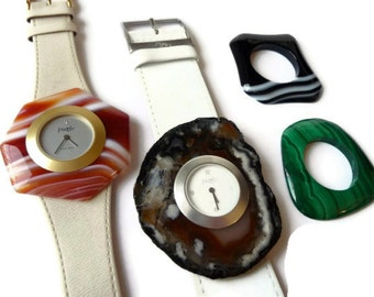 Two Swiss Made Puzle Watches with Four Gemstone Bezels