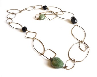 Brass Link Necklace with Agate