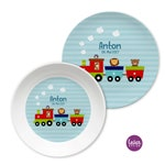 Children's plate with name personalized, gift baptism, birth, baptisation gift, children's tableware set melamine, railroad