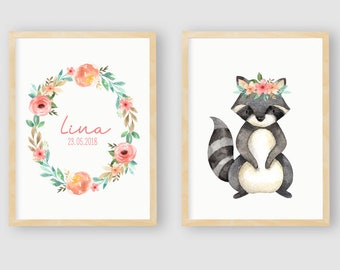 Nursery Pictures Set with Name, Poster Set, Forest Animals, Nursery Pictures, Baby Room Poster Decoration, Personalized with Name, 4 Art Prints