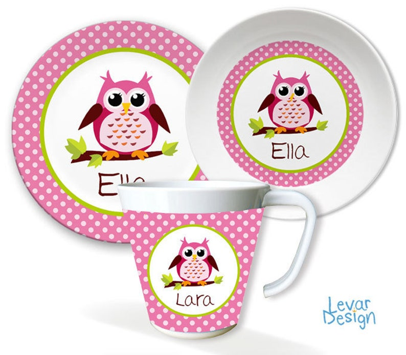 Children's Harness Personalized Children's Plate with pink