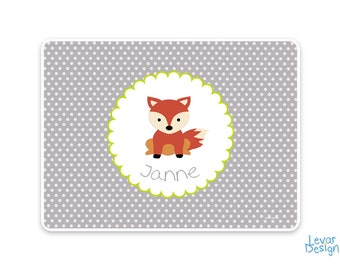 Placemat, placemat, placemat personalized with name, wipeable, kindergarten, first birthday, school, fox, lion, bear, tiger