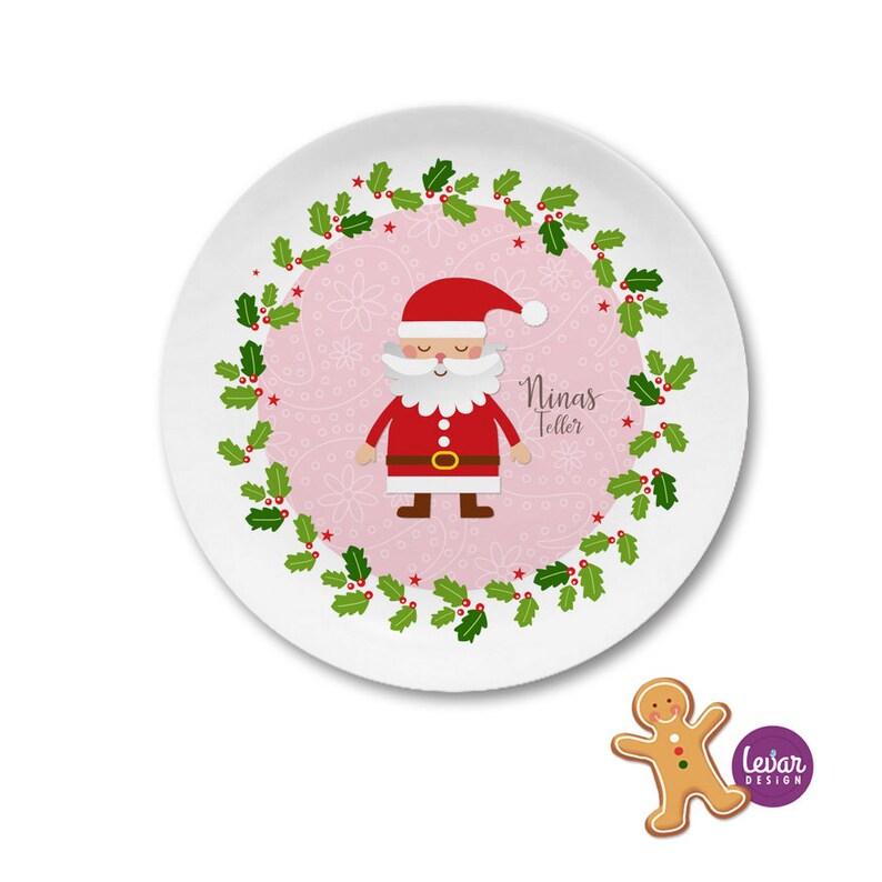Children's Plate Nikolausteller Christmas Plate Advent rosa