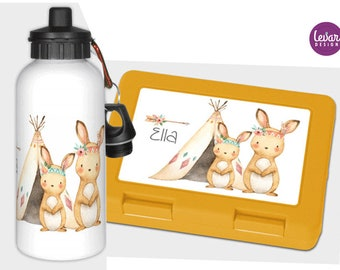 Drinking bottle and bread tin personalized with name, kindergarten set, schooling, school start, Woodland