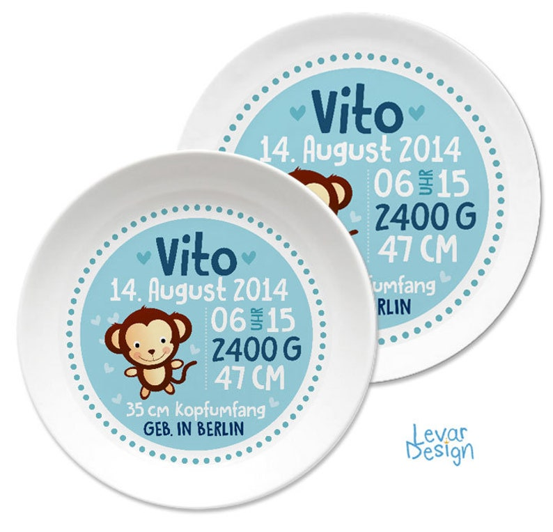 Birth plate, christened plate, children's plate with name personalized,  baptisway gift, gift birth, children's tableware set melamine