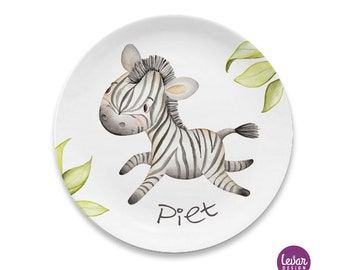 Children's plate with name, BPA free, plates, children's dishes personalized, melaminteller, baptismal gift, first birthday, zoo animals, zebra