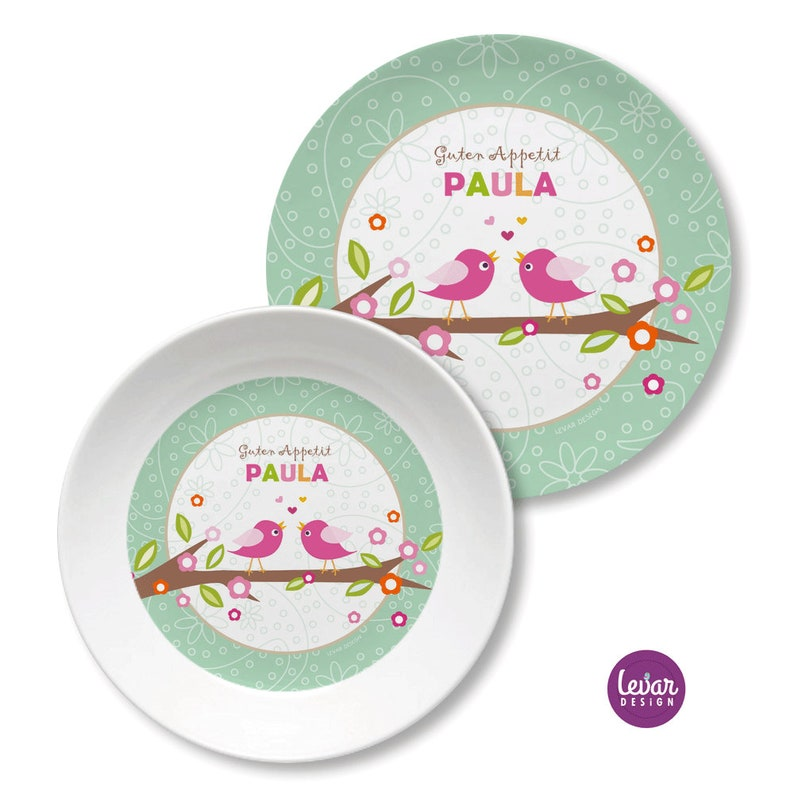 Children's Harness Children's Plate Birds mint