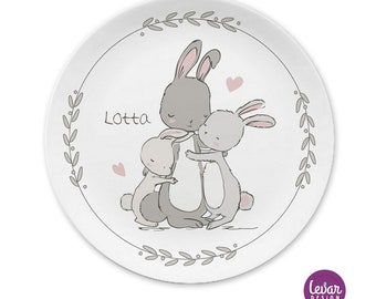 Children's plate BPA free, personalized with name, birthday, baptismal gift, gift birth, baptism, children's tableware set melamine, rabbit family