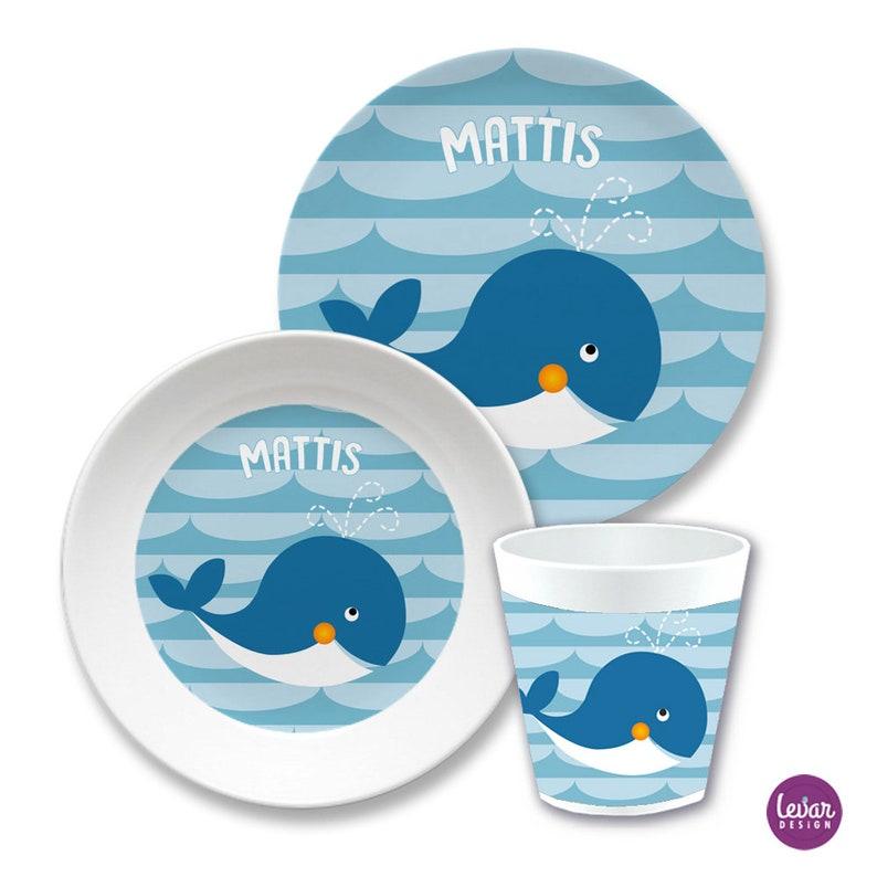 Children's tableware whale personalized children's image 0
