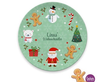 children's plate, personalizable, children's tableware, Christmas plate with name, Nikolausteller, cookie plate, gift, Christmas, melamine