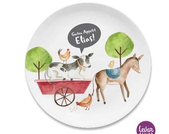 Children's plate Farm BPA free, personalized with name, baptismal gift, gift birth, baptism children's tableware set melamine, birthday baby