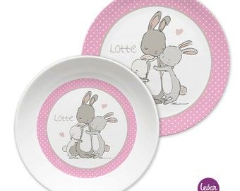 Children's Plate with Name, Kids Harness, BPA Free, Personalized, Baptism Gift, Birth Gift, Melaminteller, First Birthday, Baby, Bunny