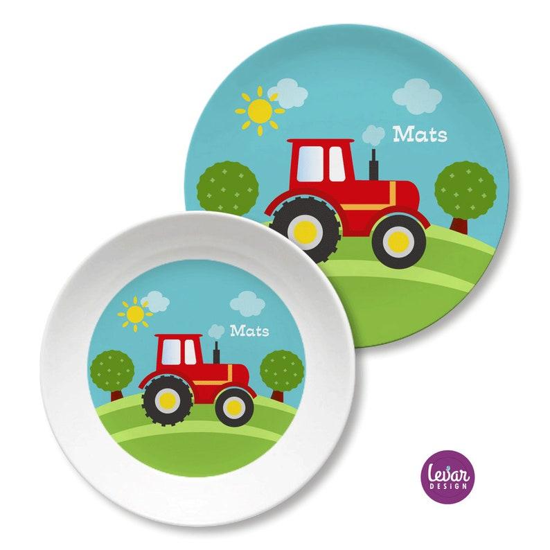 Kindergeschirr personalisiert Kinderteller Traktor mit Namen Traktor rot
