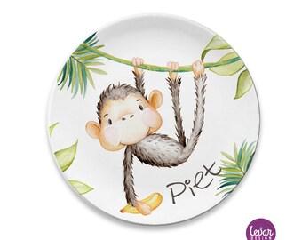 Kinderteller mit Name, BPA frei, Taufgeschenk, Kindergeschirr, personalisiert, Geschenk Geburt, Erster Geburtstag, Dschungel, Affe,Baby