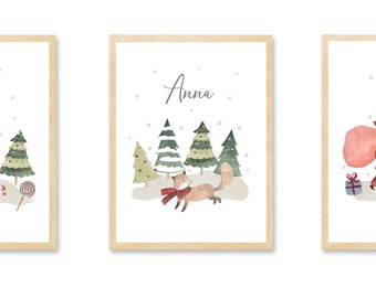Children's Room Pictures Set, Poster Set Christmas Nicholas Children's Room Pictures Baby Room Poster Decoration, personalized with name, 3 art prints
