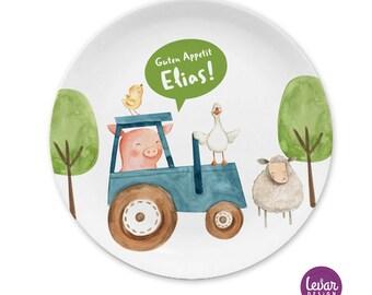 Kinderteller Bauernhof BPA frei, mit Namen personalisiert, Taufgeschenk, Geschenk Geburt, Kindergeschirr Set Melamin, Baby Teller mit Gravur