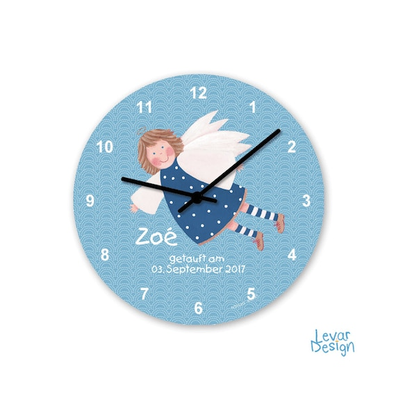 Nursery watch, guardian angel, wall clock, for boys & girls, with names  personalized, children's room decoration