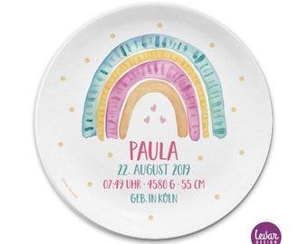 Kinderteller BPA frei, mit Name Geburtsdaten, Teller, Taufgeschenk, Geburtsteller, personalisiert, Taufteller, Regenbogen, Geschenk, Taufe