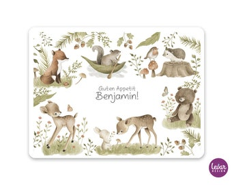 Placemat, placemat, placemat, Woodland, personalized by name, wipeable, bear, hedgehog, deer, rabbit, squirrel