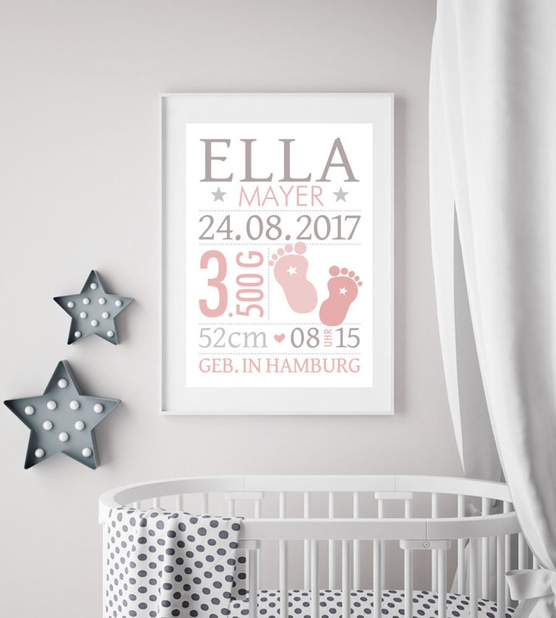 Birth announcement with name personalized name baby gift image 0
