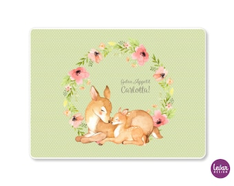 Placemat, placemat, placemat, deer personalized with name, fox, bambi, school enrollment, kindergarten, placemat, set, wipeable
