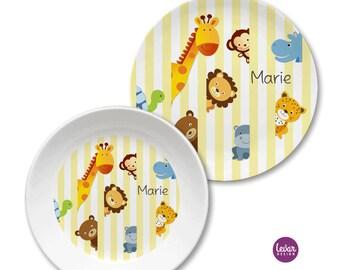 Kindergeschirr, Kinderteller mit Namen personalisiert, Taufgeschenk, Geschenk Geburt, Taufe, Kindergeschirr Set, Zootiere, BPA frei
