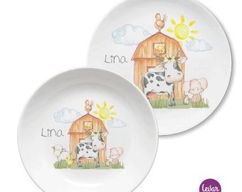 Children's Harness, BPA Free, Children's Plate Personalized with Name, Baptism Gift, Birth Gift, Baptism, Harness Set Melamine, Farm Cow