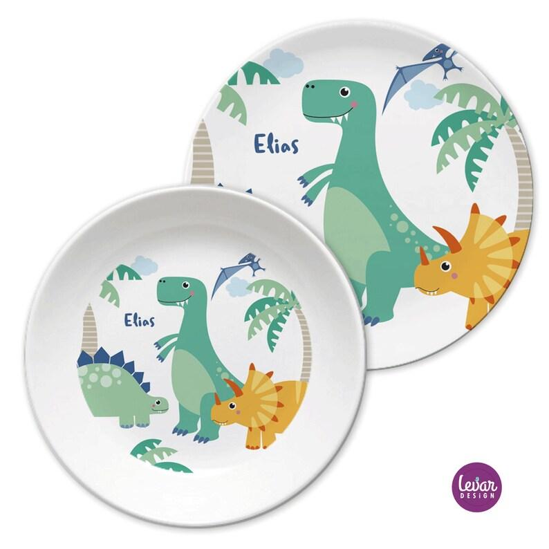 Kindergeschirr Kinderteller mit Namen personalisiert Dinos mint