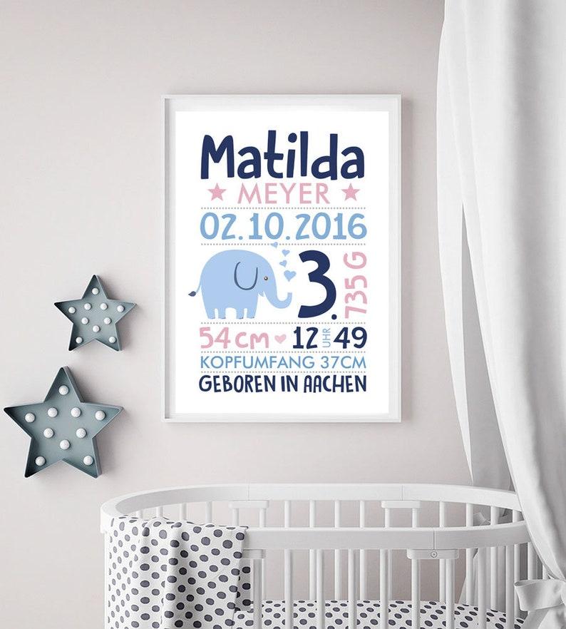 Name picture birth print birth announcement birth picture weiß/rosa/blau
