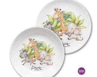 Kindergeschirr, BPA frei, Kinderteller mit Namen, personalisiert, Taufgeschenk, Geschenk Geburt, GeschirrSet, Löwe, Giraffe, Elefant,Zebra
