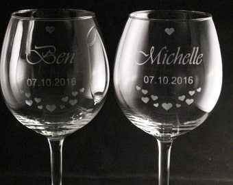 2 x Personalised Wedding Wine Glasses, Etched Wine Glasses, Weddingg Glasses, Wedding Wine Glasses, Weddingg Gift, Personalised Wedding Gift