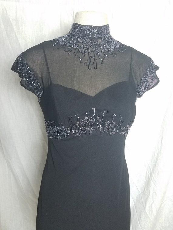 Vintage Prom Dress, Beaded Mandarin Collar Gown, 9