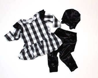 Black and white buffalo check peplum