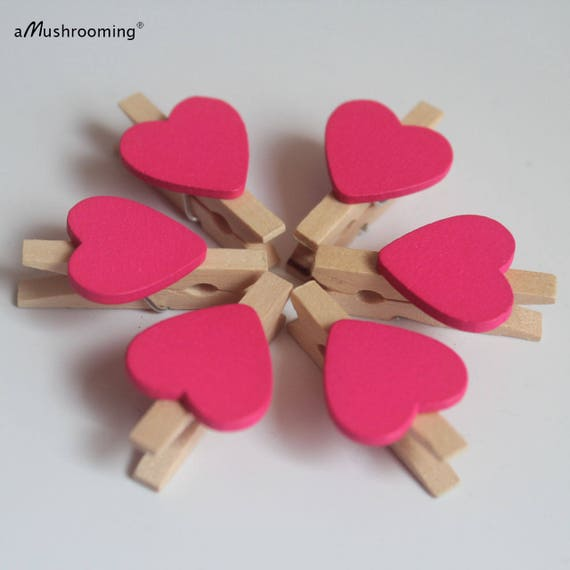 30MM NATURAL PEGS WITH GREEN HEARTS 30mm Small Wooden Craft Pegs Wedding